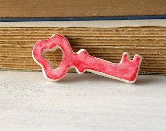 Red clay skeleton key decor, romantic cottage chic decor, minimal home decor