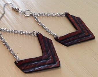Leather Chevron Earrings - Dangle