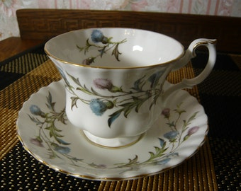 Vintage Royal Albert BRIGADOON Cup and Saucer Circa 1960s  to 1970s