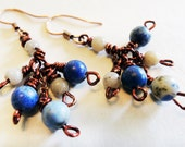 Blue Lapis and Copper Cluster Dangle Earrings Handmade by Lindsey - Boho Chic Earrings - Beach Inspired - Signature Cluster Earrings
