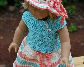 "Crochet Pattern: ""Sweet & Sassy"" 18"" Doll Dress, Skirt, Shirt, Sunhat / Permission to Sell Finished Items"