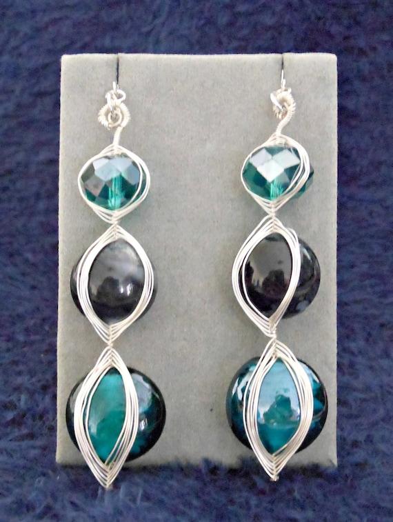 Jasmine Earrings: Peacock