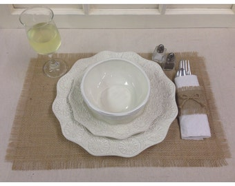 """Burlap Placemats 12"""" x 18"""" - set of 6 Home decor, Holiday decorating, country chic, wedding, shabby chic"""