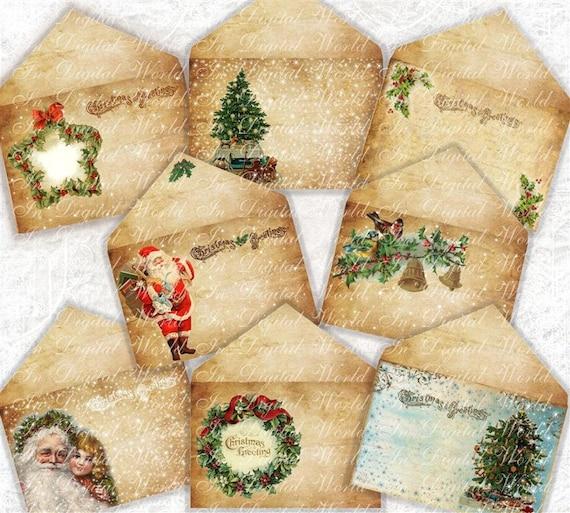 Items Similar To Vintage Christmas Envelopes DIY Printable
