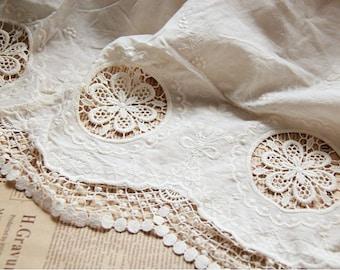 white lace fabric, cotton fabric lace, crochet lace fabric