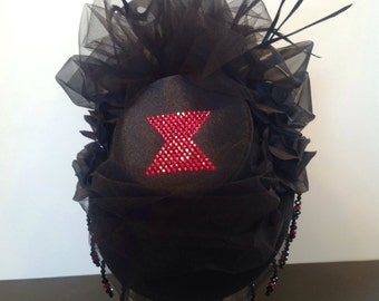 "Burlesque Mini Top Hat ""Black Widow"" - Cosplay, Steampunk, Lolita, Fascinator, Headpiece"