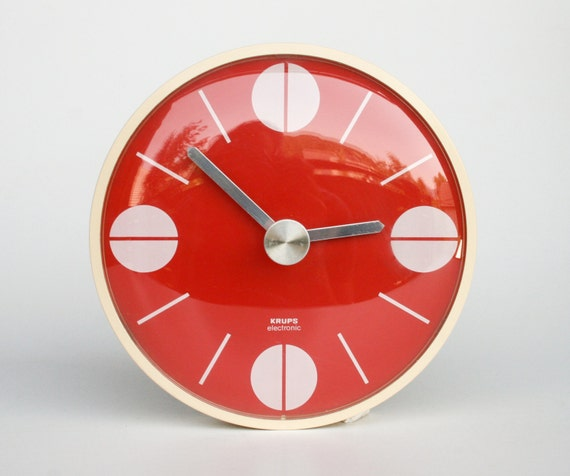 mid century modern wall clock cathrineholm style red white