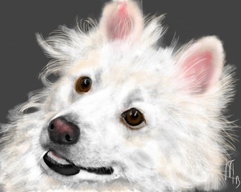 Custom Dog Portrait, pet portrait, custom portrait, dog portrait, dog art, dog lover, dog memorial, American Eskimo, art print, dog, pet