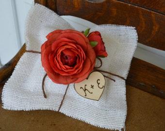 rustic ring bearer pillow, fall ring bearer pillow,  autumn wedding, burlap wedding decor