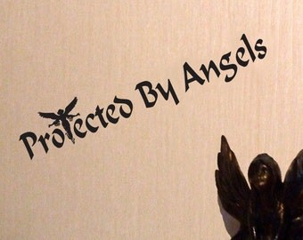 Protected By Angels Vinyl Decal Angel Faerie Pixie Angelic Bumper Decal 27 cm x 5 cm