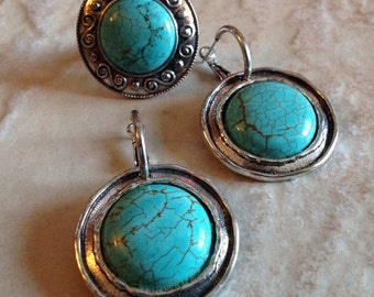 Vintage Turquoise Earrings And Ring