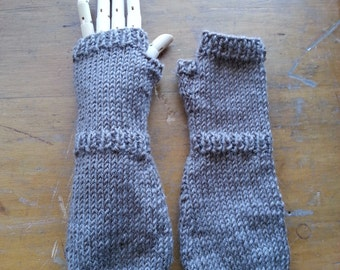 Unisex baby gloves - extra long gloves - grey baby hand knit wool - baby arm warmers - very long fingerless gloves