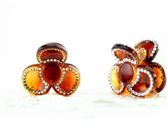 Small flower claw hair clip,Crystal hair clips with Swarovski elements crystal, brown small hair jaw clip, Crystal hair clips for halfup