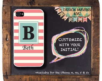 Preppy Stripe Phone Case, Personalized iPhone Case, Monogrammed iPhone, Fits iPhone 4, 4s, iPhone 5, 5s, 5c, iPhone 6, Phone Case