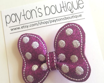 Purple Glitter Classic Mouse Bow Boutique Clip
