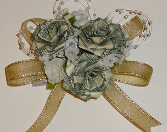Origami Money Corsage for Wedding/ Anniversary/ Prom/ Birthday/ Sweet 16/ Graduation/ Mother's Day/ Homecoming