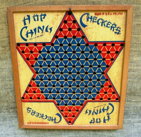 Wooden checker board wooden checkerboard in - Antique Wooden Chinese Checkers Board With Wooden Checker