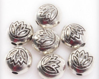 Lotus Blossom bead, Spacer 7-8 mm in Diameter 1 mm Hole,10 pieces