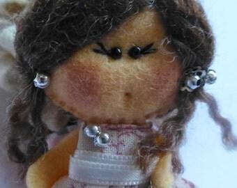 Felt doll brooch, Matilda Pink Apple , Felt doll, Fabric Brooch, Art Brooch, Wearable Art Jewelry, Felt brooch, Doll Brooch,