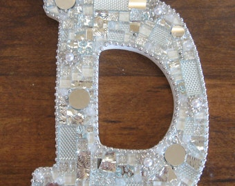 Mosaic Letter D Initial Sparkly beads mirrored glass  Glitzy Holiday Gift