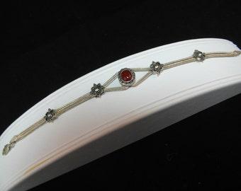 Sterling Silver Estate Carnelian Bracelet