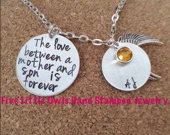 Hand stamped the love between a mother and son is forever