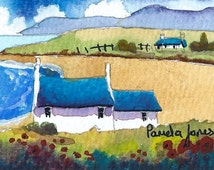 ACEO - Original Watercolour - Scottish Croft - Isle Of Skye - Miniature painting - Gift Idea - Art and Collectibles