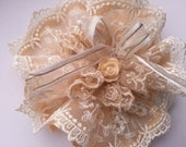 Lace Fabric Flower Lolita hairclip with Embroidery Lace and Beading-Gold