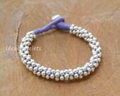 Silver bracelets, Handmade bracelets, Silver beaded, Bell bracelets, Gift for girls, Purple bracelets
