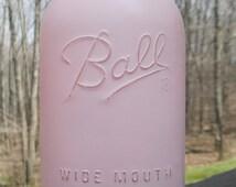 Large Half-Gallon Mason Jar / Shabby Chic PINK / Painted Ball Jar / Vase / Centerpiece / Home Decor / Wedding & Shower Decor