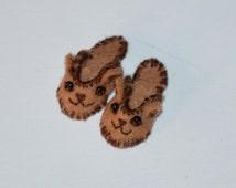 Miniature KIT for 1/12 dollhouse teddy bear slippers, DIY. Teddy Slippers Kit