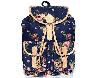 Blue Floral Backpack