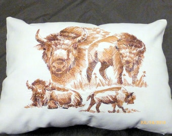 Embroidered Buffalo Pillow cover - Bison pillow cover- 12x16 - Decorative Buffalo pillow cover - Animal pillow -Fathers Day gift