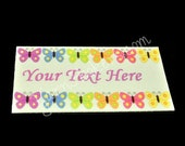 "Butterfly Row - ""Iron On"" or "" Sew In"" - Cotton Fabric Labels (White) - For Crochet, Knit, Sew and Quilt Heirlooms"