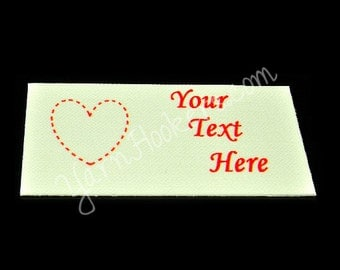 "Quilted Heart - ""Iron On"" or "" Sew In"" - Cotton Fabric Labels (White) - For Crochet, Knit, Sew and Quilt Heirlooms"