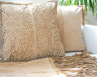 Paisley pillow, leather pillow in soft light beige genuine suede