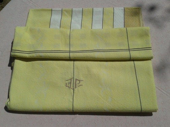 1930's Pastel Yellow Damask Tablecloth Monogram High Quality French Cotton Stripes Checkered #sophieladydeparis