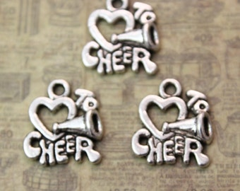 10 Love to Cheer Charms Love to Cheer Pendants Antiqued Silver Tone 15 x 15 mm
