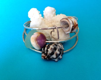 Sterling Silver Shell Bangles Set of 3