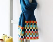Locomotive Teal Knitted Lambswool Scarf