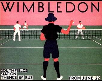 Art Print Wimbledon Tennis 1935,  London Underground  Poster Print 8 x 10