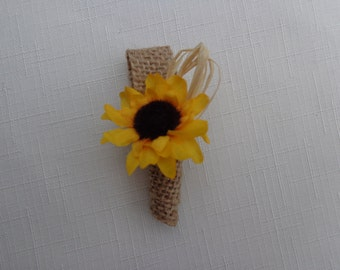 Mini sunflower boutonniere for the ring bearer