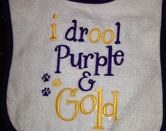 I drool Purple and Gold - Machine Embroidery Designs