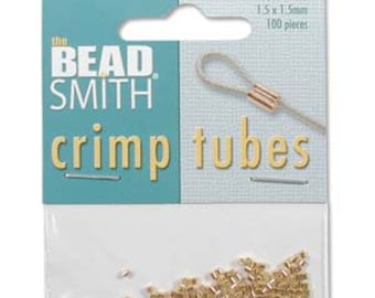 1.5mm Gold Plated Crimp Tube Beads, 100 pcs., Findings, Supplies, Beadsmith