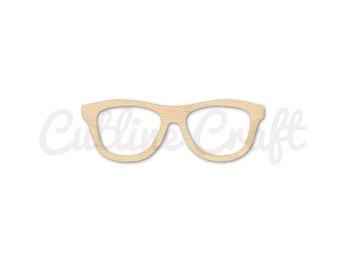 Nerdy Glasses 1390 Cutout Crafts, Gift Tags Ornaments Laser Cut Birch Wood Various Sizes