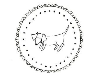 Hand Embroidery Dachshund Dog Wiener Dog Pattern Printable Sausage Animal Digital Downloadable 0058