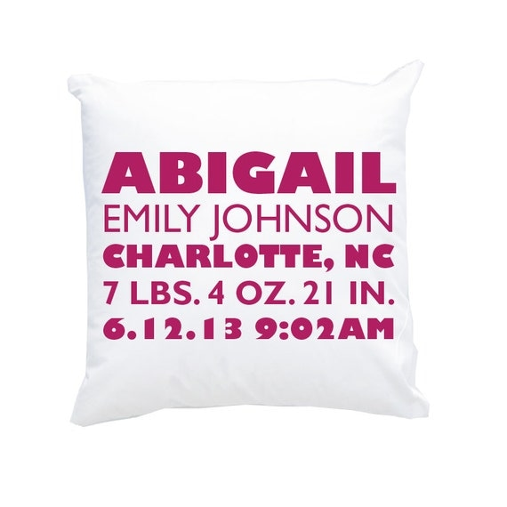 New baby gift personalized birth announcement pillow for new baby il570xn negle Gallery