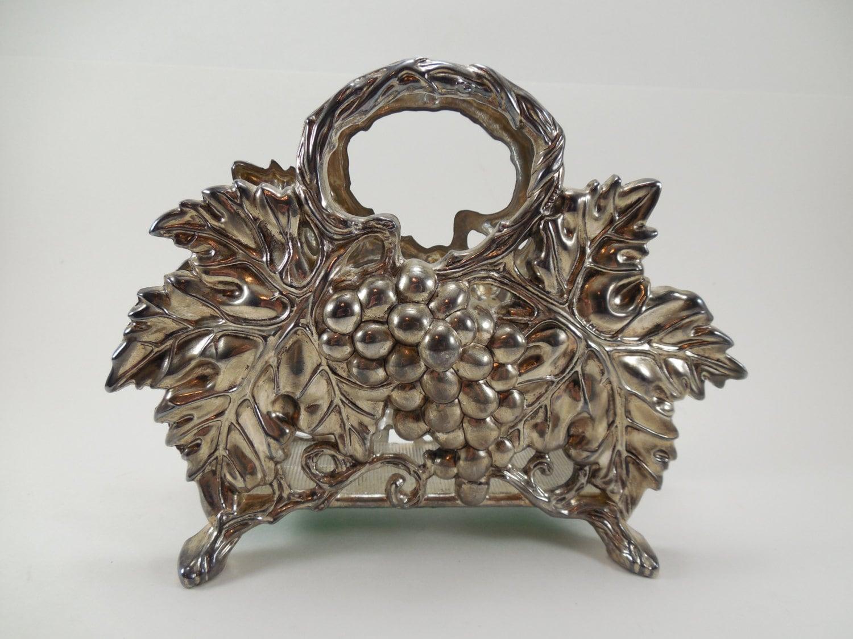 Godinger Silver Art Co Basket : Vintage godinger silver art co grape cluster and leaf design