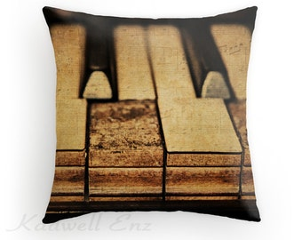 Piano Photo Pillow Cover 'These Worn Tunes' Photography Throw Pillow Cover Art Old Piano Keys Musical Instrument Decor Rustic Music Lover