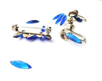 CLEARANCE SALE Blue Rhinestones Navette, Vintage Destash Lot, Jewelry Making Craft Supplies